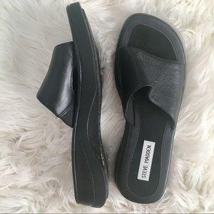 Steve Madden Black Slip On Sandals